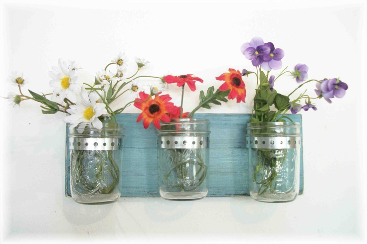 Flowers, Flowers & Flowers. Maison Jars, Robin Eggs Blue Shabby Chic Cottage ...