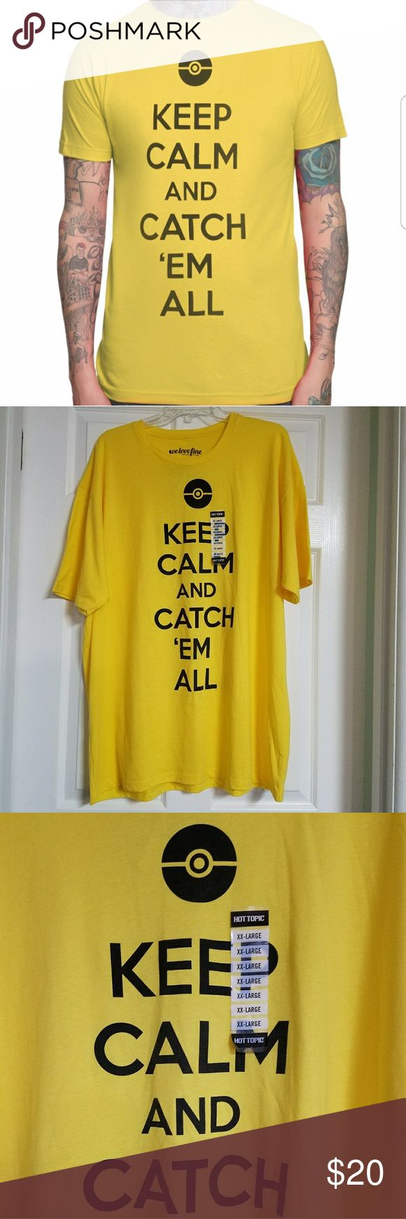 """POKEMON Keep Calm & Catch Em All Yellow shirt NWT Ip for sale is a brand new with tags Pokemon """"Keep Calm and Catch Em All"""" tee from Hot Topic. Pokemon Yellow Pilachu Version Vibes. 💛🖤💛🖤 When purchased, it came with a small pin size hole in the collar, as seen in pic 4. Back is plain yellow and colors are true to pics.  XXL/ 2X  Coming from a life long Pokemon fan, so I hope this can go to another who will LOVE IT!   *25 inches pit to pit x 31.5 inches long   Thanks for looking and…"""