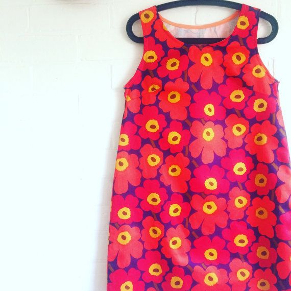 Marimekko Mini Unikko Sateen Dress Red Orange Navy by karlacola