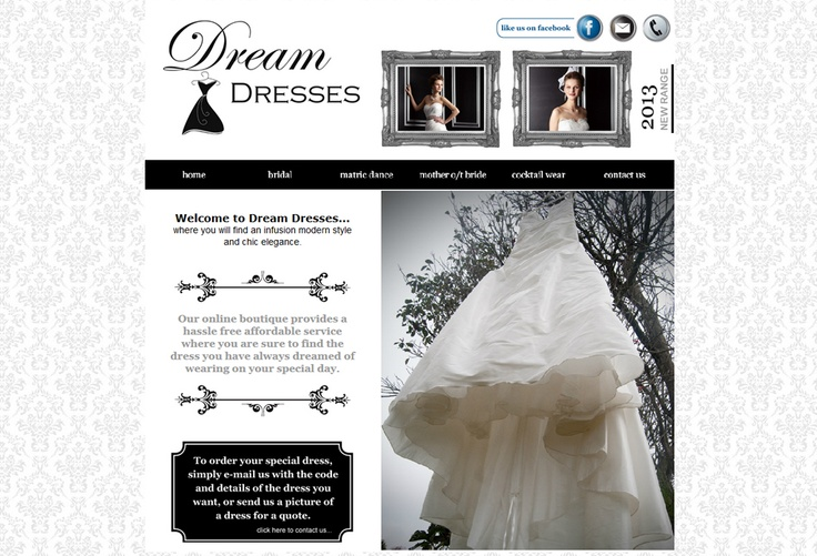 Website Design for Dream Dresses. View my full portfolio at: http://www.littleblackbirddesignstudio.co.za/portfolio.html