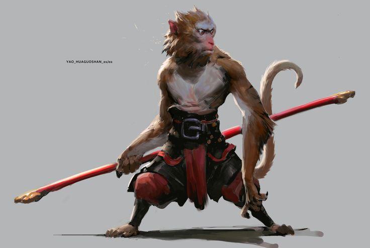 Inspiración de macacos. Proporciones interesantes con balance, piernas cortas y flexionadas con brazos largos. Triángulo invertido, no muy musculoso pero fuerte.