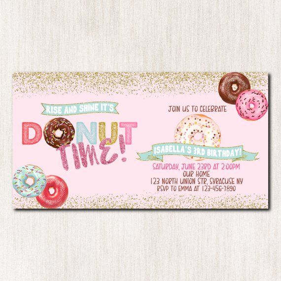 Donut Facebook Event Cover Photo Party Birthday Invitation Invit