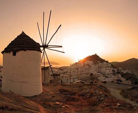 Back of the main town in Ios island, #Greece #windmill #sunset