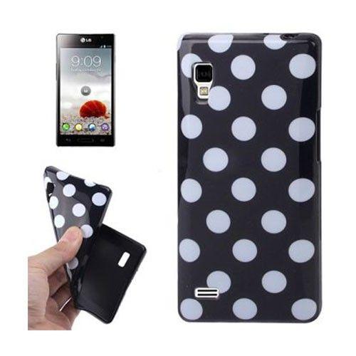 Polka Dots (Musta) LG Optimus L9 Suojakuori