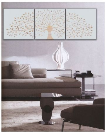 Wood Carved Tree of Life Triptych in White - Complete Pad