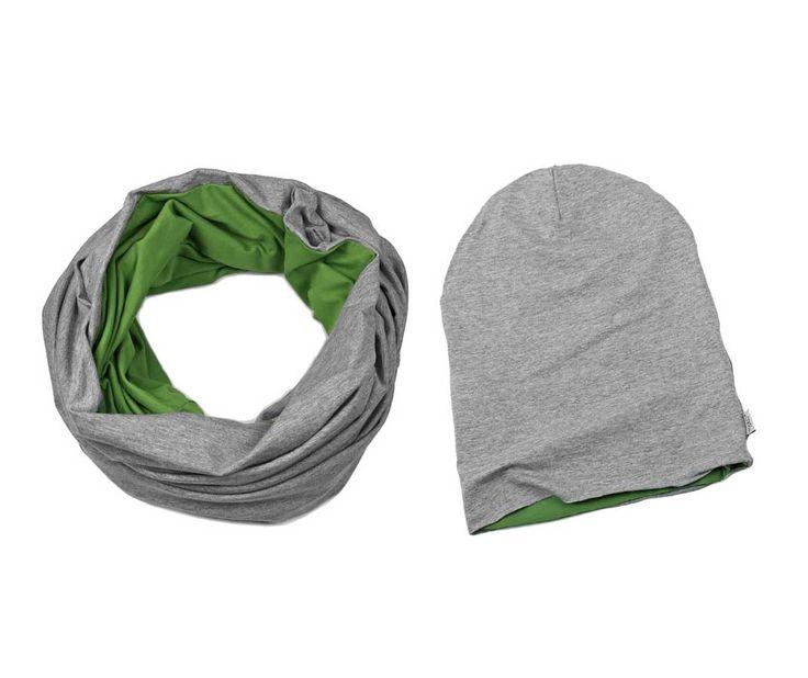 ZESTAW CZAPKA I KOMIN PISTACHIO dzianina szara zielona 99 PLN #tube #scarve #green