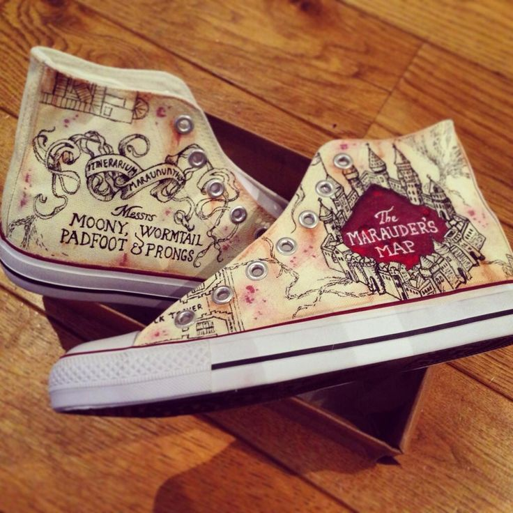 """Custom painted marauders map Harry potter hightops! #maraudersmap #harrypotter…"