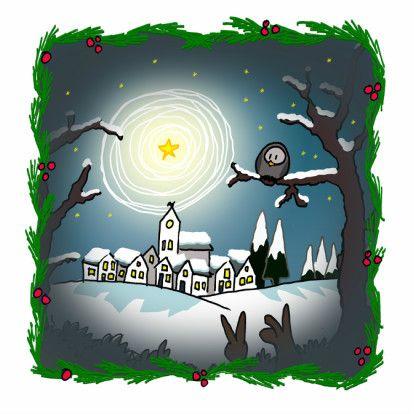 kerstkaarten kerstlandschap met diertjes en lichtende ster boven het dorpje.