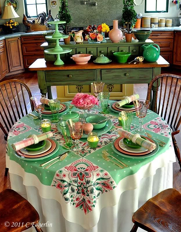 Beau Mix U0026 Match Fiesta Pink, Greens And White For A Spring Table. Add A Vintage  Linens To Complete The Look.