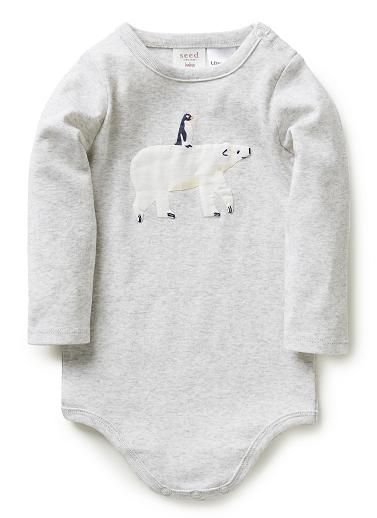 8a8664f39 100% cotton 1x1 rib long sleeve bodysuit with crotch snap fastening and  side neck snaps. Features front bear and penguin applique.