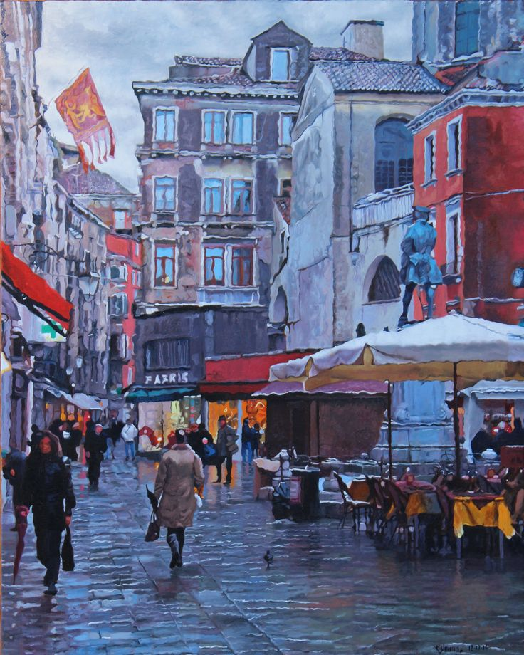 Campo San Bartolomeo #2 Urban landscape oil painting by Kenneth Young www.kenyoungfineart.com