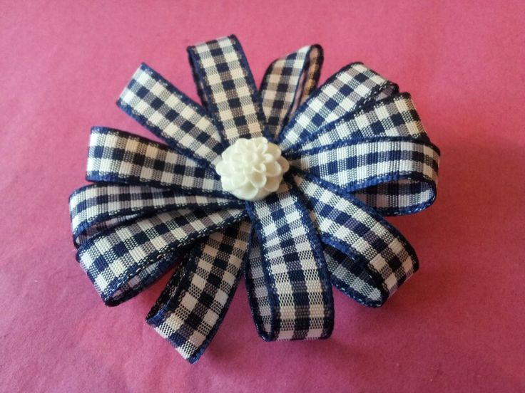 Gingham flower clips - not long until summer uniform can be worn!! Visit Www.brionisboutique.co.uk ♥ #hairaccessories #clips #schooluniform