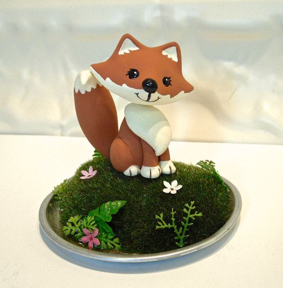 Woodland Fox Cake Topper - Made To Order - Birthday or baby shower cake topper