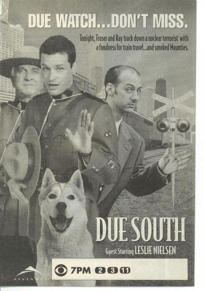 1996 CBS Tv Ad Due South Paul Gross Leslie Nielsen guests Promo Advertisement
