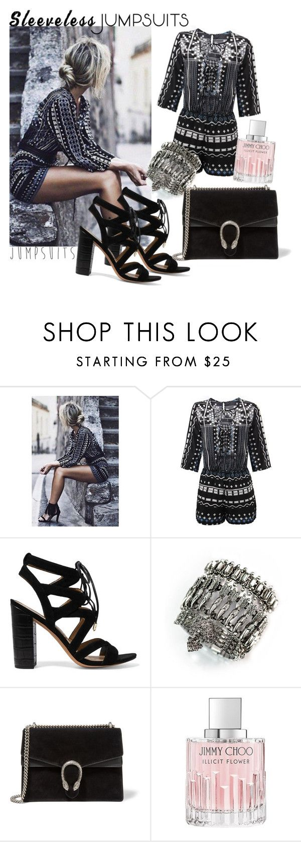 """viernes por la noche"" by andiibarba ❤ liked on Polyvore featuring Sam Edelman, DYLANLEX, Gucci, Jimmy Choo and sleevelessjumpsuits"