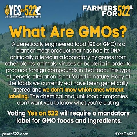 A yes vote on I-522 would simply label GMO foods so you can make an informed choice at the grocery store. More Here: http://yeson522.com/about/faq
