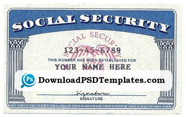 Social Security Card Template Ssn Social Security Card Card Template Card Templates Printable