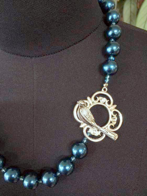 Handmade Necklace 54 cm, Ornate Bird Clasp