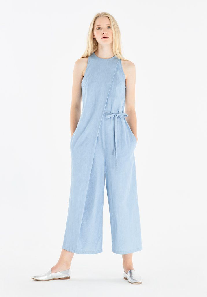 bb8a9d5b8dcb Denim Jumpsuit with Front Overlay and Side Tie (With Self Belt) in Light  Blue
