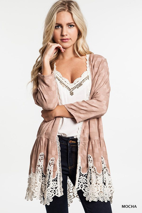 Knit Cardigan Sweater With Lace Trim Detail