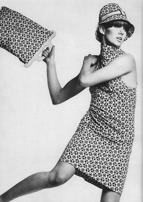 "1967. Mini dress, hat and bag by Barbara Hulanicki's ""Biba"" fashion label. Photo by ?"