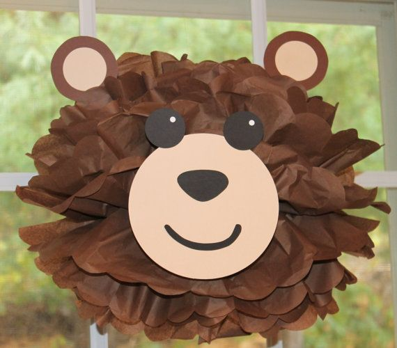 Bear teddy bear pom pom kit king of the jungle safari noahs ark carnival circus baby shower first birthday party decoration