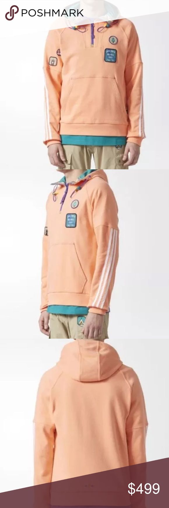 adidas x Pharrell Williams Human Race Hoodie Large Selling an extra LARGE Adidas x Pharrell Williams Human Race Hoodie LARGE. This rare find is SOLD OUT at adidas. Color is Sun Glow.  Kangaroo pocket Half zip with reflective bungee hood-adjuster cords and contrast hood lining Raglan sleeves Ribbed cuffs and hem Pharrell Williams-inspired appliqué badges and star embroidery detailing Regular fit 60% cotton / 40% polyester French terry Imported Product color: Sun Glow / Eqt Green adidas Shirts…