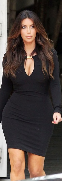 Who made  Kim Kardashian's black long sleeve cut out dress?