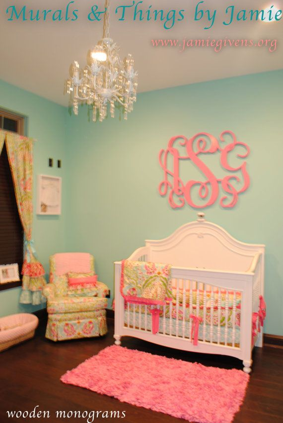 Wall paint color is Aquaduct by Sherwin Williams. It's a little brighter in person. Monogram color is Sherwin Williams Vivacious Pink