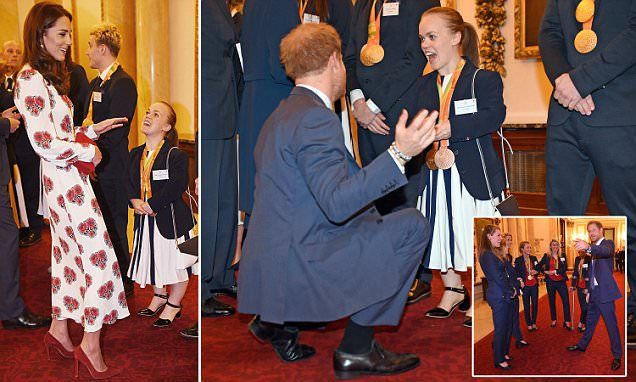 Prince Harry flirts with Team GB hockey team at Palace reception