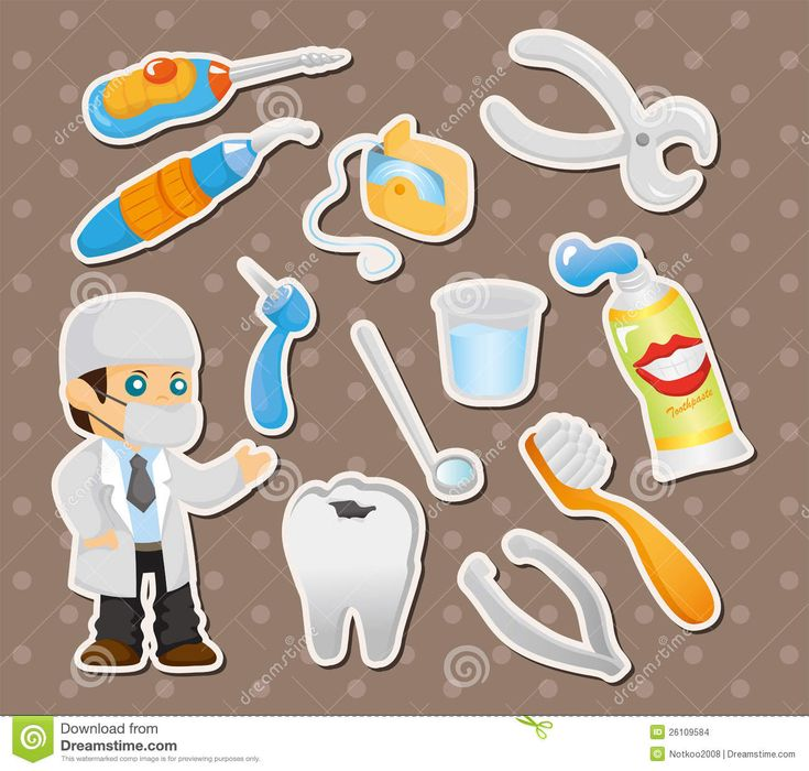 Cartoon Dentist | Cartoon dentist tool stickers,cartoon vector illustration.