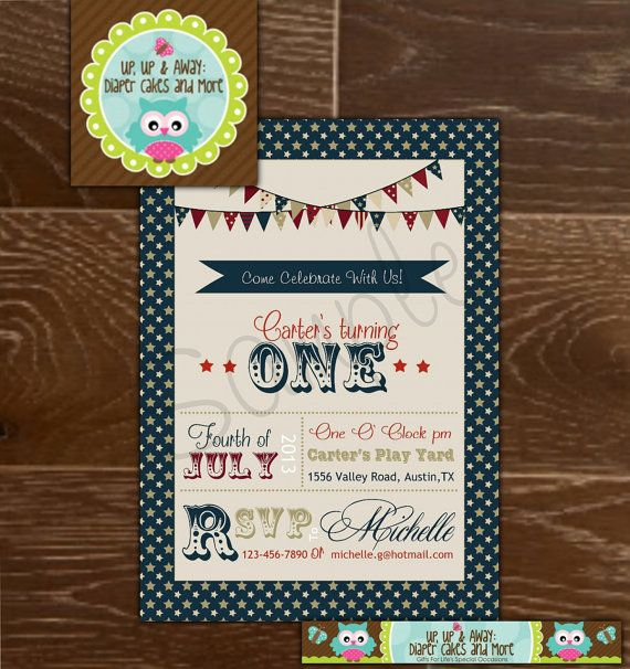 4th of July InvitationIndependence Day by upupdiapercakes on Etsy, $15.00