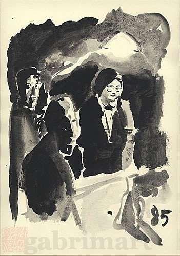 """""""Una sera…"""", china nera su carta, firmato sul retro, 1985, cm 35,5×50"""