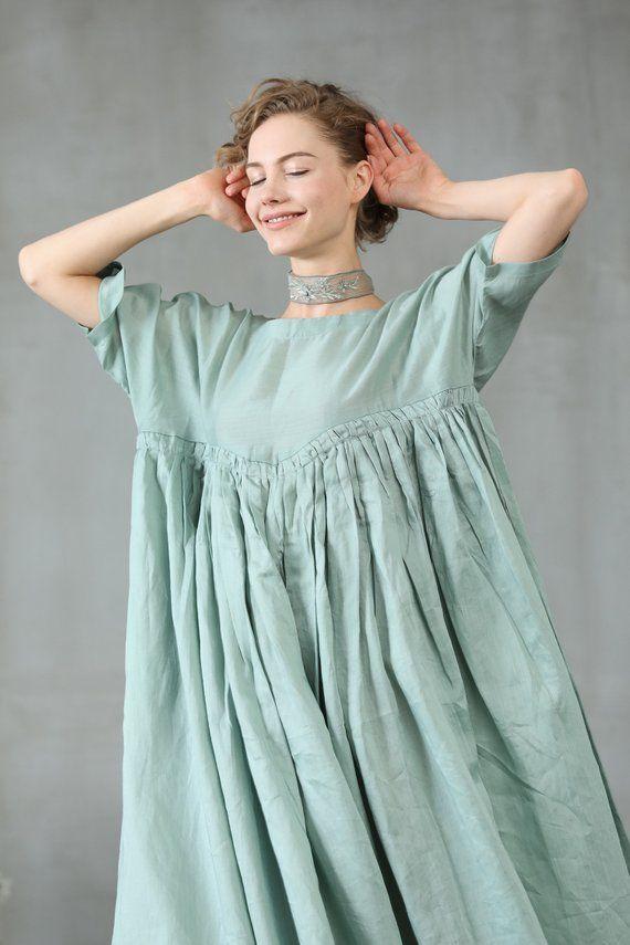 d9f24f8d80 maxi linen dress in aqua green ruffle dress princess linen