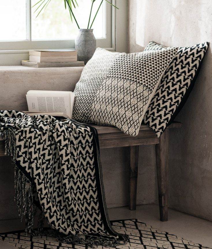 Black and white textiles from H&M Home   www.homeology.co.za