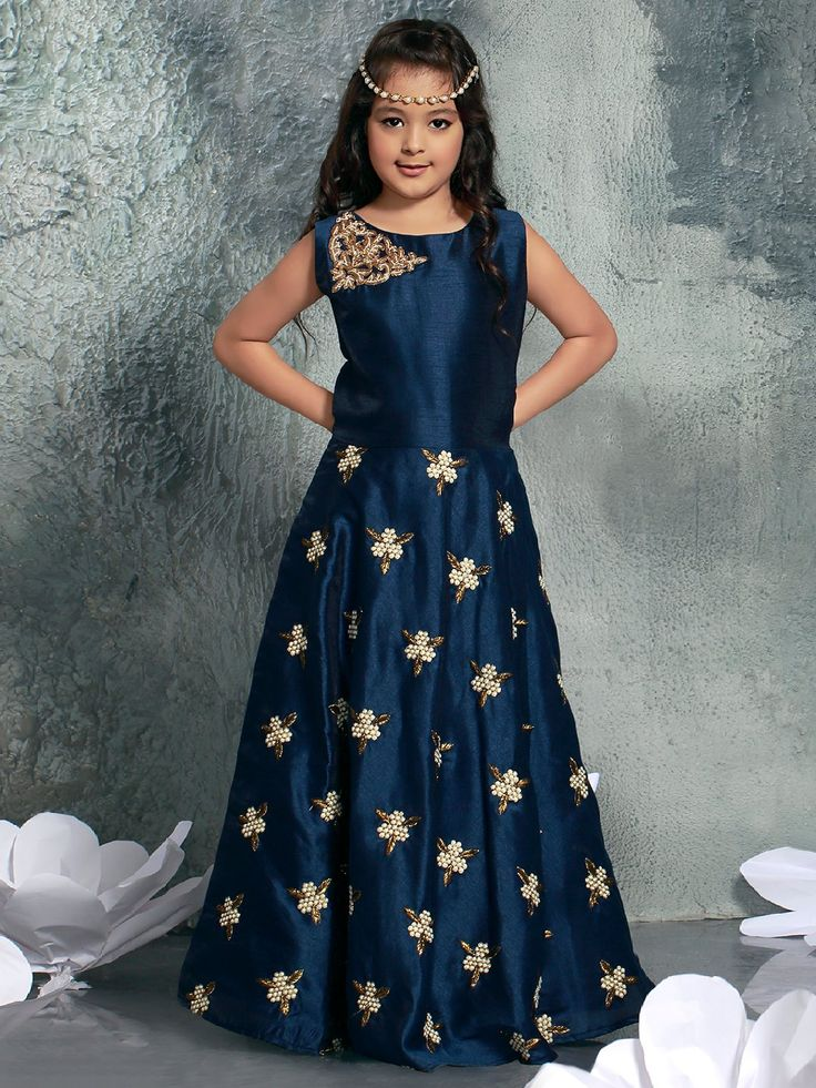 Navy Hue Silk Party Wear Gown, navy color, silk fabric, party wear