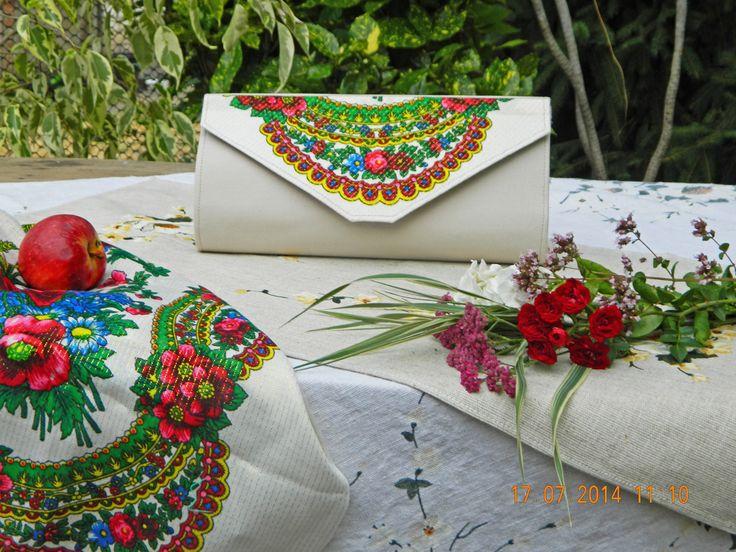 "Clutch ""Mouchoir Vintage"": denim, linen, Ukrainian National scarf"