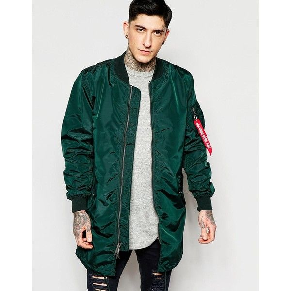 Alpha Industries MA1 Long Bomber Jacket Slim Fit in Green (282 AUD) ❤ liked on Polyvore featuring men's fashion, men's clothing, men's outerwear, men's jackets, green, mens zip up jacket, mens nylon bomber jacket, mens slim jacket, mens tall jackets and mens green jacket