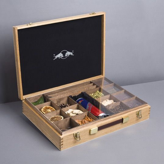 "Self promotion idea. Has the WOW factor!  Use your imagination regarding what to put in a box like this. Red Bull Cola press kits - perfect for ""Bucketlist in a Box"""