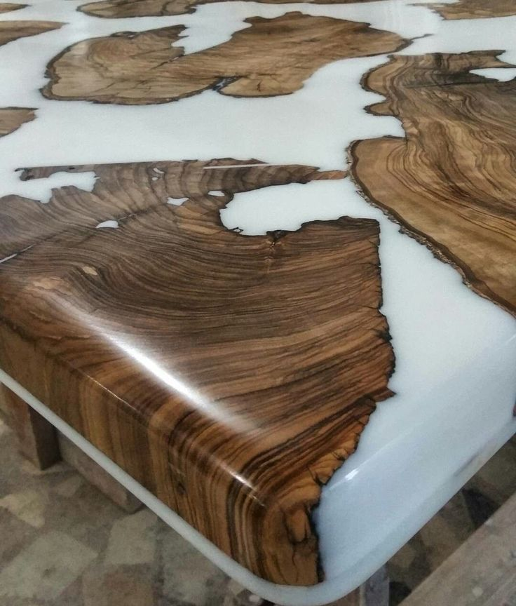 Epoxy Driftwood Table: Epoxy Resin Casted Wood Table. Salvaged Olive And