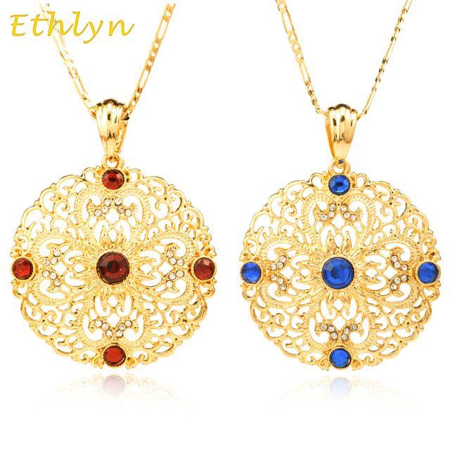 Ethlyn 2016 Novo 3/pendente de Moda 18 K Banhado A Ouro de Strass estilo Etíope Oriente médio Mulheres jóia do casamento Romântico P017