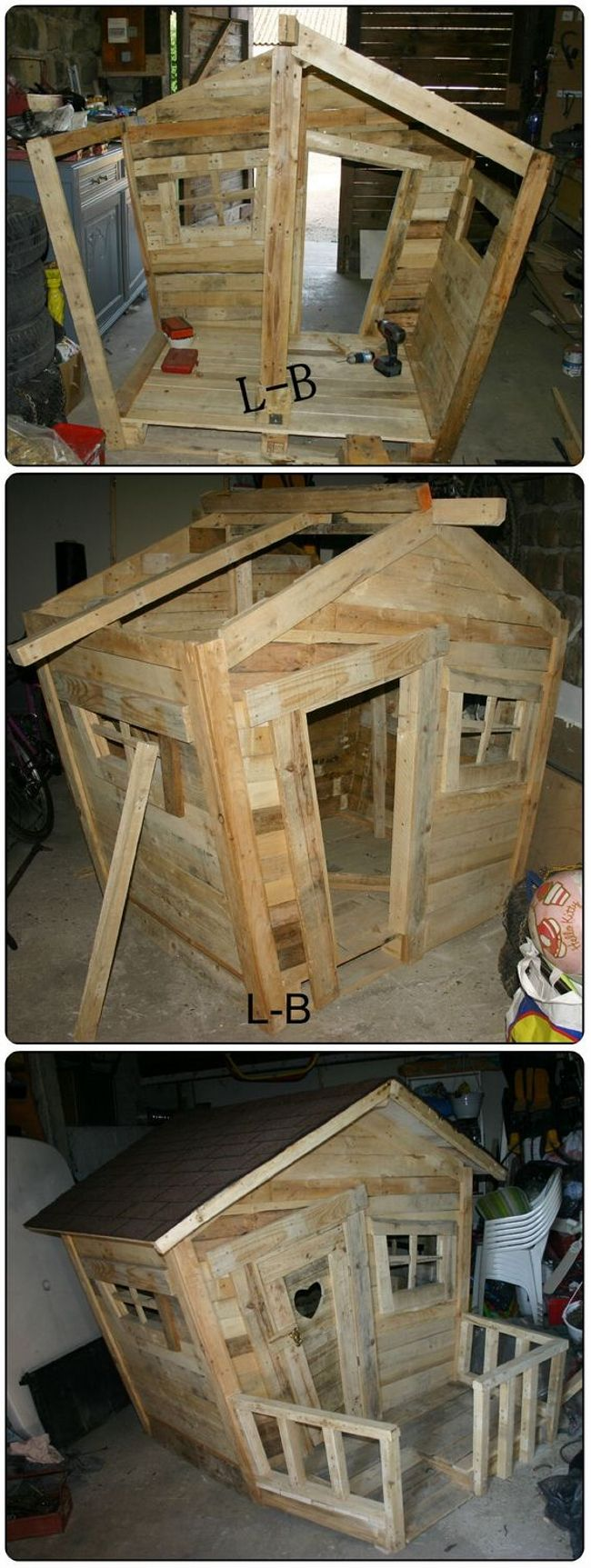 Pallet wood can be easily used to make small wooden houses. The pallet used will be cheap and easily available. You can use it to make small tree houses like a doll house or camp house with hut shape or you can also use it as a dog house. It will be spacious and has a distinguish look.
