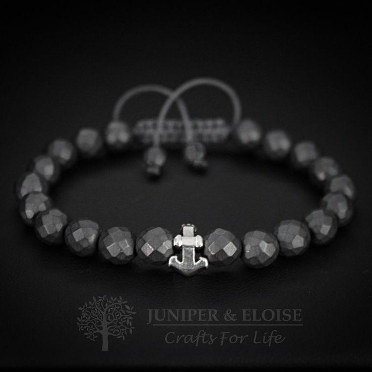 Anchor Bracelet,Black Onyx Bracelet, 925 Silver Anchor charm, Bracelet For Men and Women, Nautical Jewellery, Braccialetto, Pulsera, Armband by JuniperandEloise on Etsy