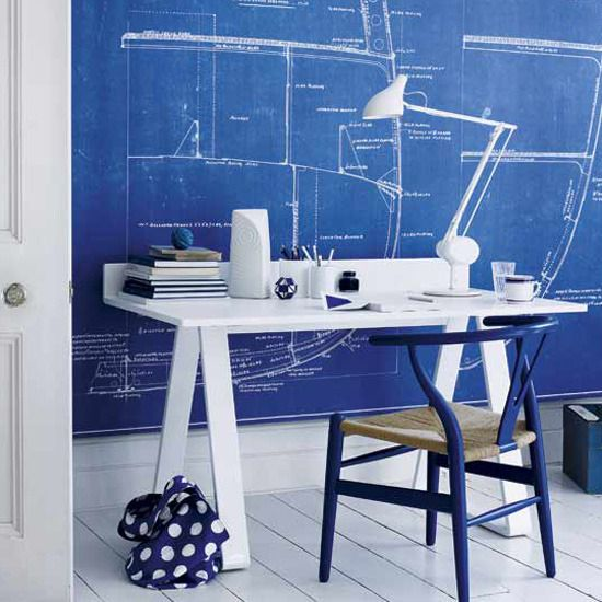 cool blue home office