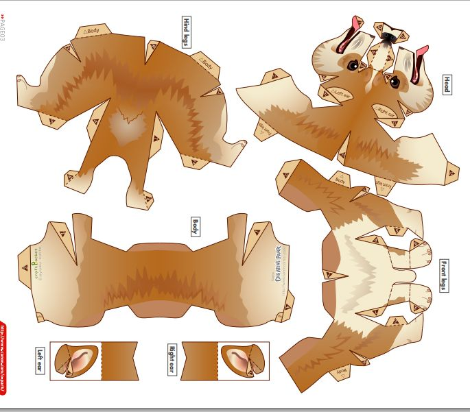 Welsh Corgi Pembroke Template Бумажные зверюшки