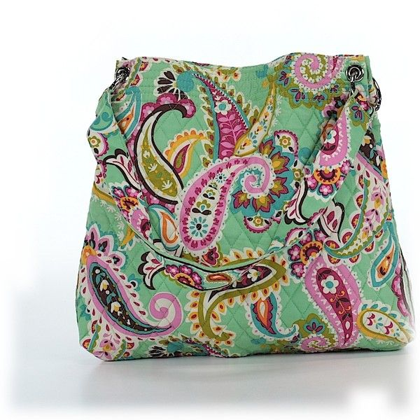 Pre-owned Vera Bradley Tote: Green Women's Bags ($34) ❤ liked on Polyvore featuring bags, handbags, tote bags, green, vera bradley handbags, hand bags, vera bradley purses, purse tote and green tote