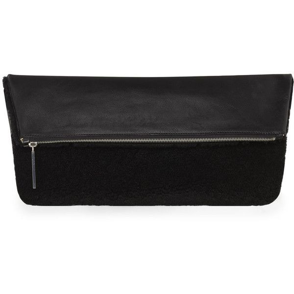 Whistles Lexi Large Shearling Clutch (£75) ❤ liked on Polyvore featuring bags, handbags, clutches, black, shearling purse, shearling handbags and whistles handbags