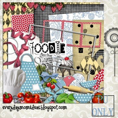 """Foodie"" FREE Digital Scrapbooking Kit!  Lots of FREE digital scrapbook kits."