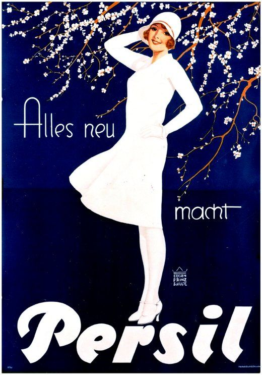 Persil 1929 weisse Dame blau