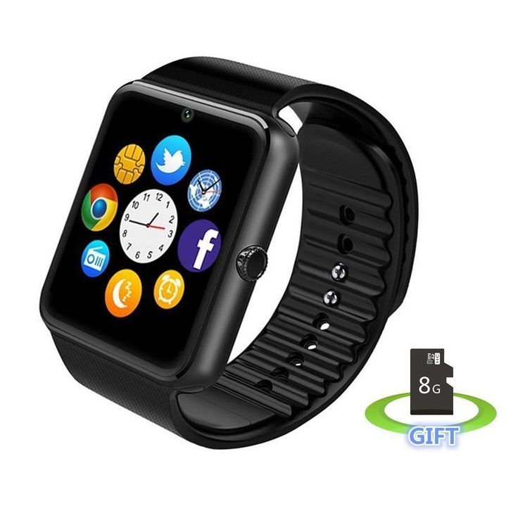 Sweatproof Smart Watch for iPhone / Android Includes 8G Micro SD Card (Black)